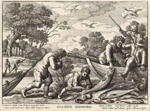 "Fishing and poetry in the 1600s. Credit: http://en.wikipedia.org/wiki/Atlantic_salmon#/media/File:Wenceslas_Hollar_-_Salmon_fishing_(State_1).jpg"">Wikimedia Commons"