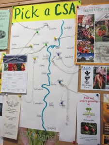 Pick a CSA map at Green Fields Market.